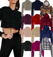 Ladies Raw Edge Cropped Hoodie Pullover Sweatshirt Top Long Sleeve Short Plain