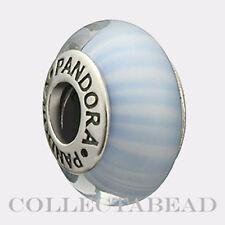 Authentic Pandora Silver Murano Light Blue Candy Stripes Bead 790684