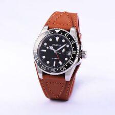 42mm Parnis Black Ceramic Bezel GMT Sapphire Leather Strap Automatic Watch