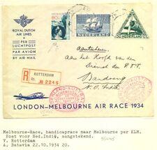 NETHERLANDS-1934 KLM MAC-ROBERTSON RACE - UIVER - MELBOURNE -DUTCH INDIES-- F/VF