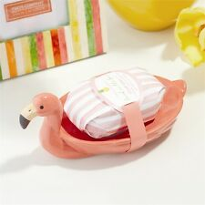 Flamingo Pink Soap Dish With Soap By Two's Company  2 Piece Set