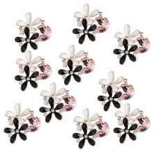 10x Alloy Crystal Flower Flatback Buttons for Wedding Decoration Crafts 24mm