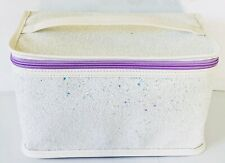 Clinique Skincare Makeup Cosmetic Train Case Zipper Bag Glitter White / Purple