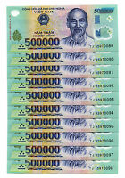 5 MILLION DONG BANKNOTE = 10 x 500,000 500000 DONG VIETNAM CURRENCY BANKNOTE UNC