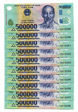 5 Million Dong Banknote 10 X 500 000 500000 Vietnam Currency Unc