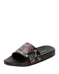 Dolce & Gabbana Graffiti-Print Leather Pool Slide Sandals 35