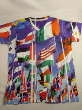 Mens TRUE ROCK United Nations Flags Commemorative V Neck Tee Shirt   Size L