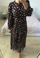 ZARA NEW PRINTED MIDI DRESS LONG MAXI BLACK PINK FLOWING VINTAGE SIZE XS-XXL