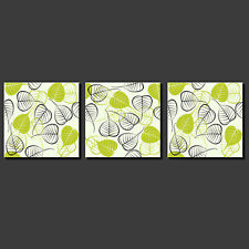 ABSTRACT GREEN LEAVES MODERN DESIGN 3 PANELS CANVAS PRINT PICTURE FREE UK P&P