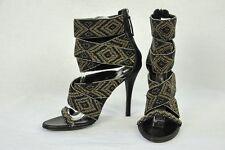 BALMAIN Womens Tribal Beaded High Heel Pump Ankle Sandal Bootie Shoe 7-37 NEW