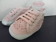 Rising Star INFANT Baby GIRL~Pink Crochet~Size 1~SNEAKERS Crib Shoes 3-6Mo