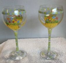 2 Gorgeous Hand Painted Easter Basket Wine Glasses w/ Eggs & Flowers