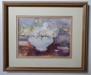 original watercolor painting - Bone Vase & Flowers