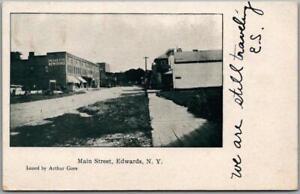 "Vintage EDWARDS, New York Postcard ""Main Street"" Downtown Scene / 1907 Cancel"