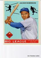 JACKIE ROBINSON, Big League Chewing Gum Reprint Art Card, Brooklyn Dodgers