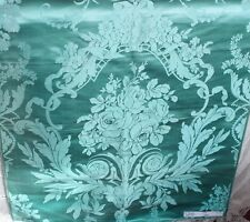 Rare Turquoise Antique French Silk c1860-80 Manufacturer's Sample Fabric Panel