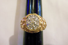 bling gold plated clear cubic nugget cluster finger men`s ring hip hop size 10