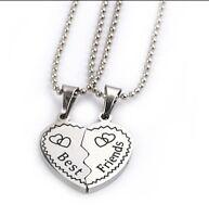 Best Friends necklace Broken Heart set of 2 stainless steel bead Christmas 837