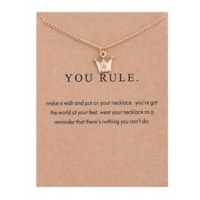 "Gold Dipped ""You Rule"" Crown Carded Pendant Necklace"