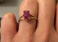 10k Yellow Gold ruby emerald cut solitaire ring