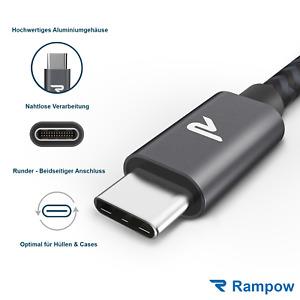 RAMPOW 2m USB C Kabel Schnell Ladekabel Nylon für Samsung S20 S21 Huawei Xiaomi