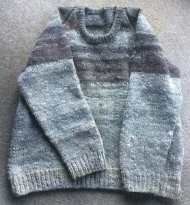 Handspun Vintage natural wool handmade jumper mens