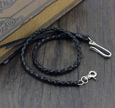 Biker Genuine Leather Wallet Chain Belt With Sliver Tone Hook Buckle