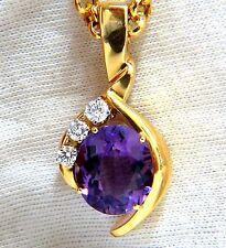 11.05ct Natural Oval Amatista Diamantes Collar 14 Quilates 61cm Vívido Morado+
