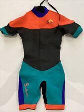 SunSports Wet Suit L Large Black Blue Turquoise Orange Shorty Short Sleeves