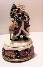 vintage Sankyo wind up Santa Christmas holiday music box mantle decoration