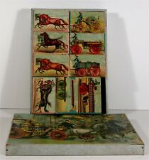 1893 FIRE ENGINE SUBJECT McLOUGHLIN BROS. CHROMOLITHOGRAPH ABC BLOCKS COMPLETE