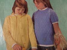 "Knitting Pattern BAMBINI BAMBINA TWIN SET CARDIGAN TOP 4ply DK 22-28"" vintage"