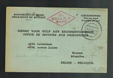 1942 Germany Prisoner of War POW Camp Postcard Cover Oflag 2A to Belgium Red Cro