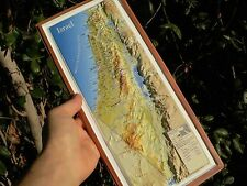 ISRAEL 3-D English Topographic Wall MAP Road, Biblical Holy Religious Sites 37cm