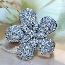 0.75 ct Natural Diamond 10k White Gold Fancy Flower Ring Valentine's Gift