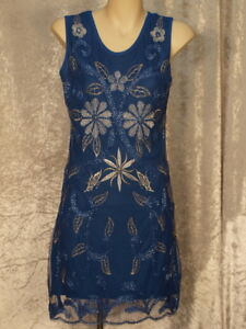 Blue Embroidered Flowers Leaves & Butterflies with Bead Swirls Dress