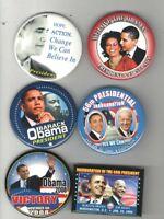 6 2008 2009 pin OBAMA CAMPAIGN pinback INAUGURATION button