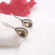 Citrin gelb Tropfen Design Ohrringe Ohrhänger Haken 925 Sterling Silber neu