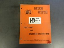 Ditch Witch HD Roto Witch Parts List and Operation Instructions Manual