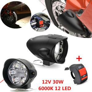 2Pcs 30W 3000LM 6000K 12 LED White Motorcycle Scooter Headlight Fog Light+Switch