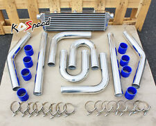 UNIVERSAL FRONT MOUNT TURBO INTERCOOLER+SILVER PIPE PIPING KIT FMIC 27X5.5X2.5