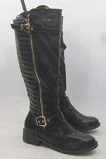 """Black 2.5"""" Block Heel Faux Leather Sexy Knee Boot Size 10"""