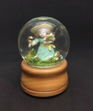 Musical Snow Globe Smithsonian Institute Wood Base Sankyo Spring Girl Flowers