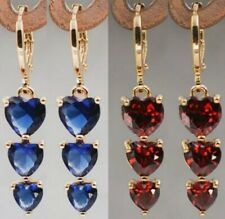 Corazones Azul o Rojo Aretes Largo Oro Amarillo GoldFilled. Gold Filled Earring