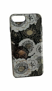 Kate Spade Floral Hybrid Case for iPhone 6 7 8 Plus Phone Black Gold White