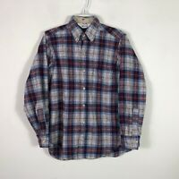 Vintage Woolrich Wool Flannel Men's Small Plaid Long Sleeve Button Front