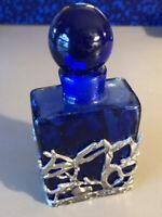 Art Nouveau Style Cobalt Blue Glass Perfume Bottle-Pewter Finish Metal Overlay