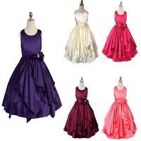 Satin Layers Flower Girl Dress Wedding Bridesmaid Girls Party Dress Purple Ivory