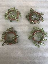 New listing Napkin Rings Set of 4 Green faceted acrylic beads w/ Brown Boho Sparkle