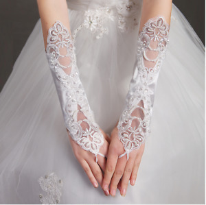 New Fingerless Satin and Lace Wedding Gloves in White Ivory